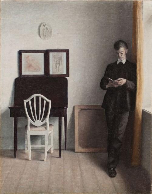 Vilhelm Hammershøi (1864-1916), Young man reading, 1898, oil on canvas, 64,4 x 51,8 cm, Hirschsprung Samling Copenhagen