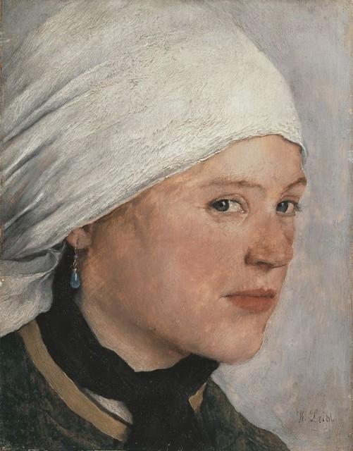 Wilhelm Leibl (1840-1900), Girl with white headdress, ca. 1876/77, oil on wood, 21,4 x 16,7 cm, Neue Pinakothek Munich