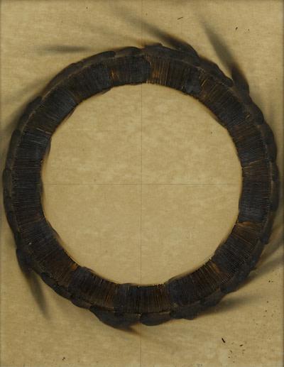 Bernard Aubertin 1973 Dessin De Feu Circulaire 65X50Cm Burnt Matched On Cardboard