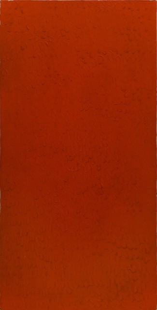 Bernard Aubertin, 1974, Monochrome rouge, 150x75cm, oil on canvas