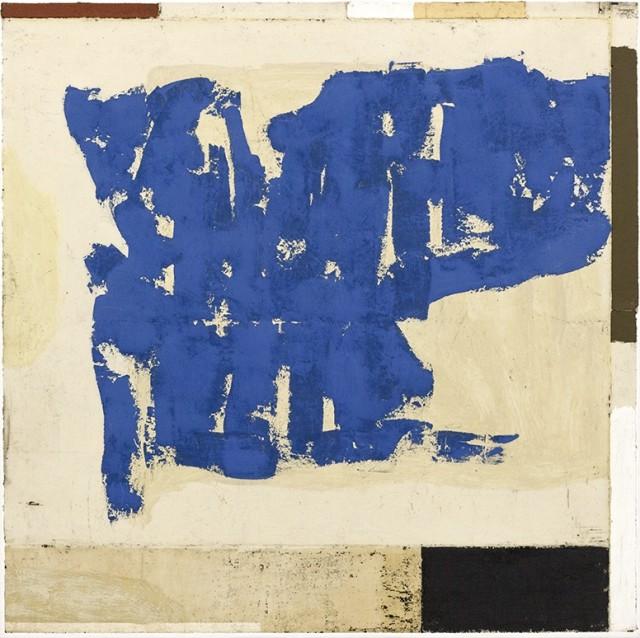Luca Serra, Remedio para todos los males - añil, 2017, 125 x 125 cm, calco in resina acrilica di pigmenti e polveri su tela