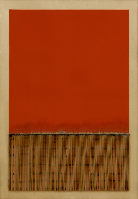 Bernard Aubertin, 1974, Dessin de feu, 100x74cm, acrylic and burnt matches