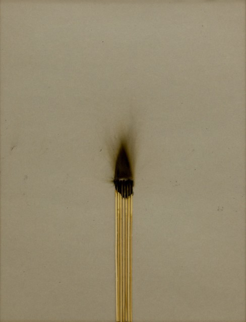 Bernard Aubertin, 1974, Dessin de Feu, 65x50cm, burnt matches on cardboard