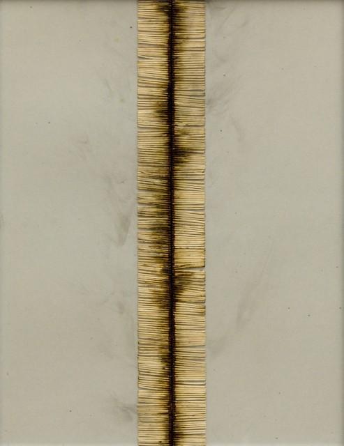 Bernard Aubertin, 1974, Dessin de Feu, 65x50cm, burnt matches on cardboard