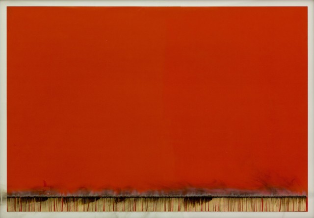 Bernard Aubertin, 1974, Dessin de Feu, 70x100cm, acrylic and burnt matches on paper