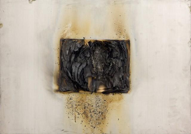 Bernard Aubertin, 1974, Livre Brulé, 50x70cm, burnt book on board