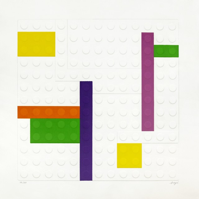 Matteo Negri, L'EgoMondrian, 2008, 80x80cm, calcographic print on cotton paper, ed 5di12