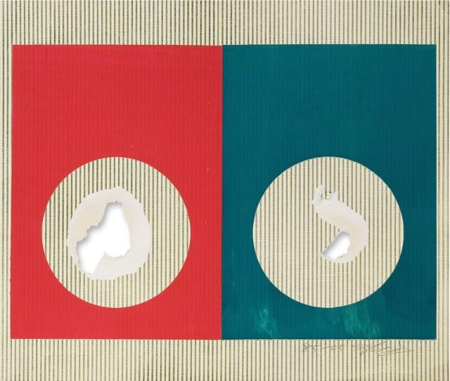 Shozo Shimamoto, Hole, 1972-2005, 45x53cm, mixed media on paper