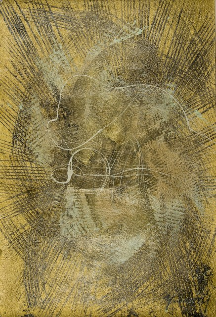 Yasuo Sumi, 2008, Gold series n°9, 80,4x52cm, mixed media on paper