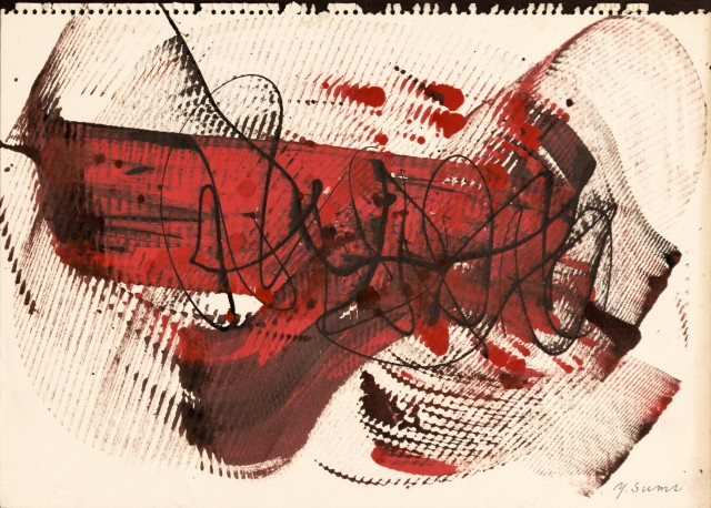 Yasuo Sumi, Untitled, 1958, 26x37 cm, mixed media on paper