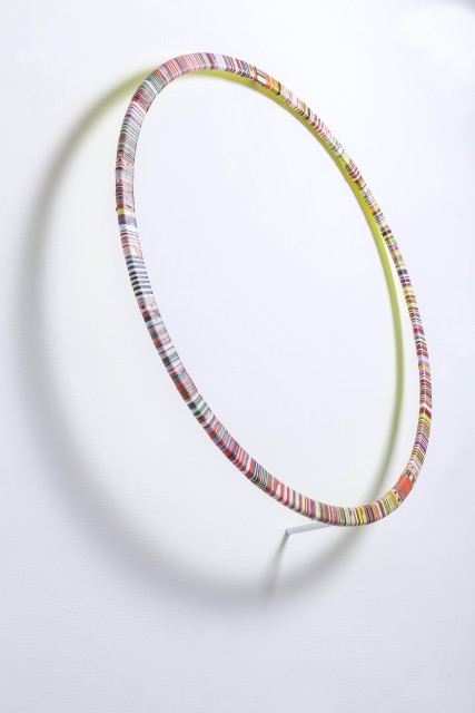 Elio / Sun 2016 Acylic on paper tape of round wood 71 x 71 x12cm