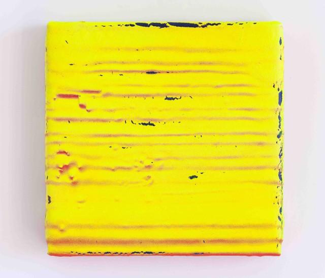 Yello 2016 Acrylic on paper tape on wood 24 x 24cm