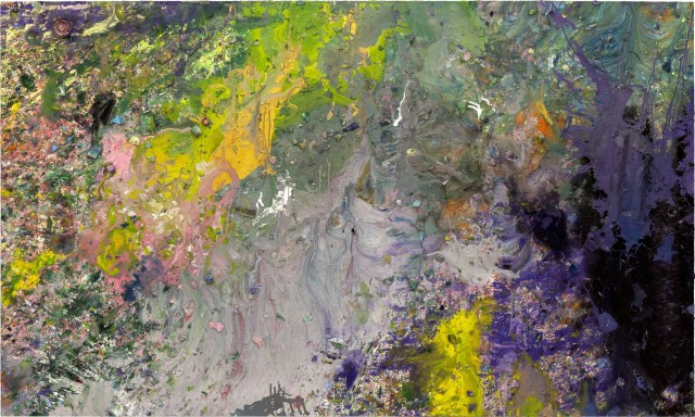 Shozo Shimamoto, Palazzo Ducale 29, 2008, 162 x 270 cm, acrylic and brokenglass on canvas