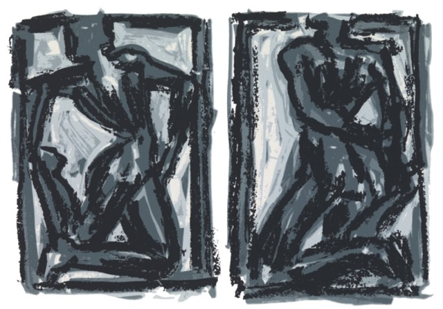Two figures, two movements