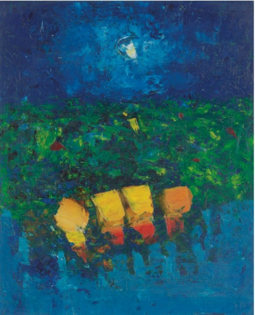 Donald Hamilton Fraser RA, Vertical Landscape, Gardens at Night