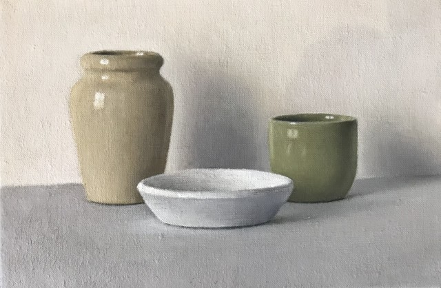 David Stubbs, Ochre, White And Green On Grey And Pink