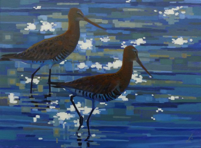 Two Black Tailed Godwits