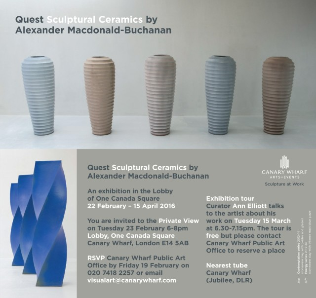Quest Sculptural Ceramics by Alexander Macdonald-Buchanan, An exhibition in the Lobby of One Canada Square