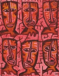 World faces DUWE, 2001, Pigments on canvas