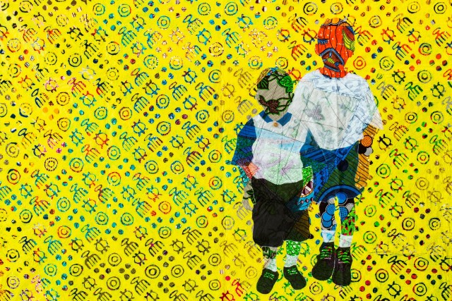 Raphael Adjetey Mayne, BOYS AFTER CHURCH, 2018, Collage, mixed media on canvas, 115 x 158 cm