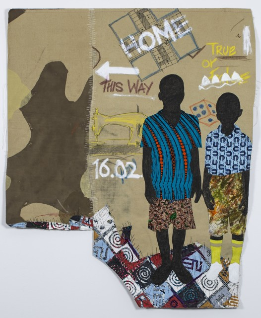 Raphael Adjetey Mayne MENSAH ANA SOWAH, 2019 Collage, mixed media on canvas 150 x 124 cm
