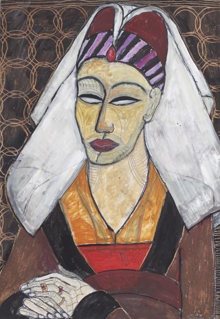 Manuela Sambo Portrait nach Rogier van der Weyden, 2008 70 x 50 cm Ölkreide auf Papier