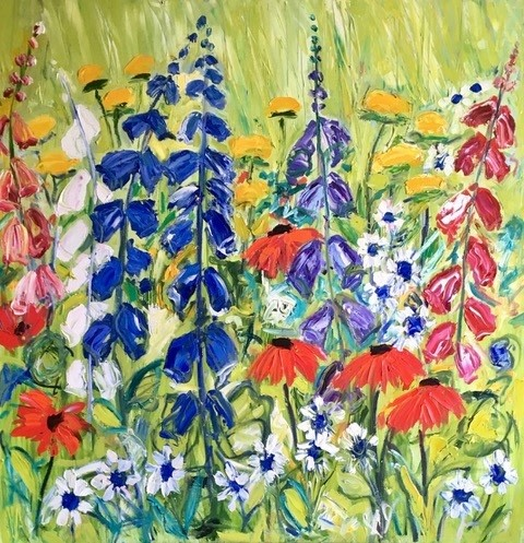 Foxgloves Oil on box canvas 40 x 40 inches