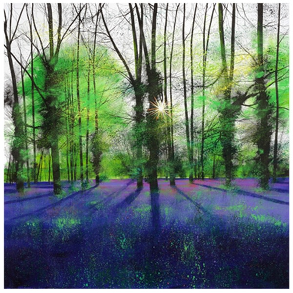 Paul Evans, Sunburst and Bluebells, 81 x 83 cm