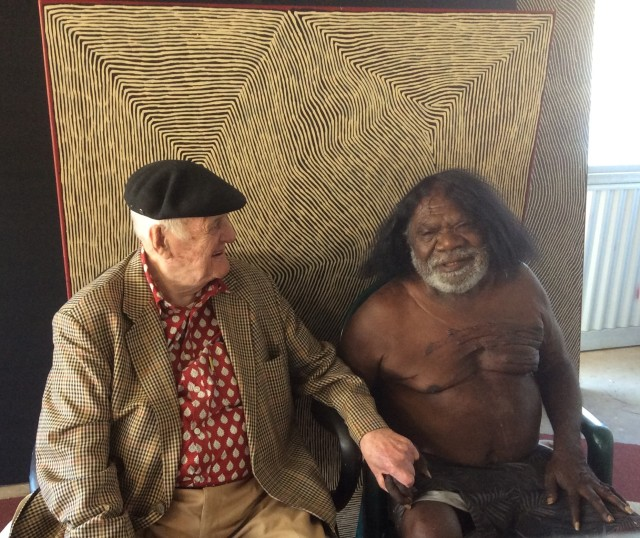George Tjungurrayi with John Olsen AO, OBE before his recent acquisition