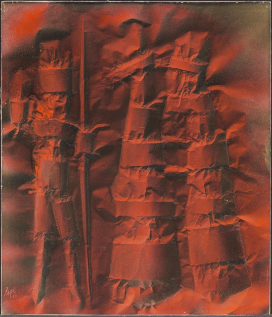 """Warriors (1959), signed lower left: """"Cagli"""". Oil on canvassed paper, 77 x 66 cm, 30 1/4 x 26 in."""