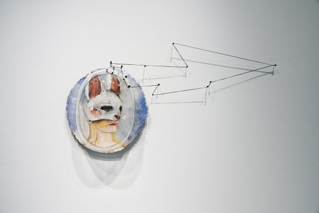 Dorie Guthrie, Hare's Breath, kilnformed and blown glass, flameworked stringer, enamels, thread.