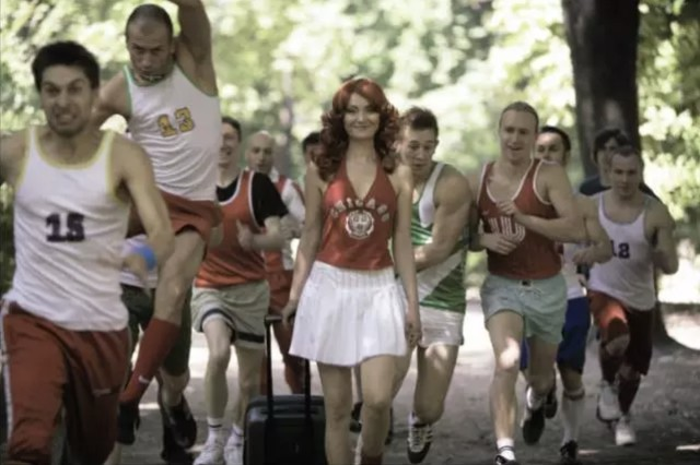 Katarzyna Kozyra 卡塔姿娜·科兹拉, Cheerleader, 2006, music video from the series In Art Dreams Come True,《在艺术中梦想成真》系列之《啦啦队长》,single channel projection (colour), loop, 16:9...