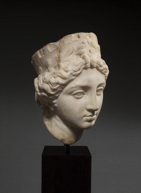 Roman marble head of Tyche-Fortuna Southern Italy, 1st century BC