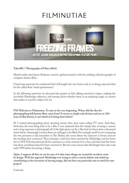 Freezing Frames: Artist Jason Shulman on photographing feature films