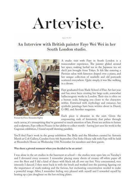 An Interview with British painter Faye Wei Wei in her South London studio.