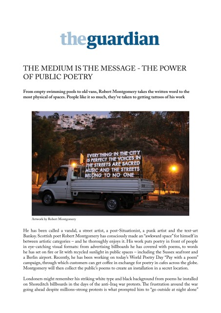 The medium is the message – the power of public poetry