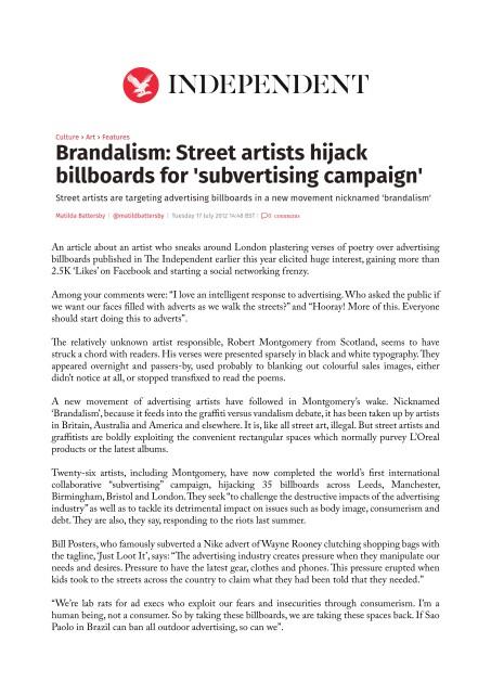 Brandalism: Street artists hijack billboards for 'subvertising campaign'