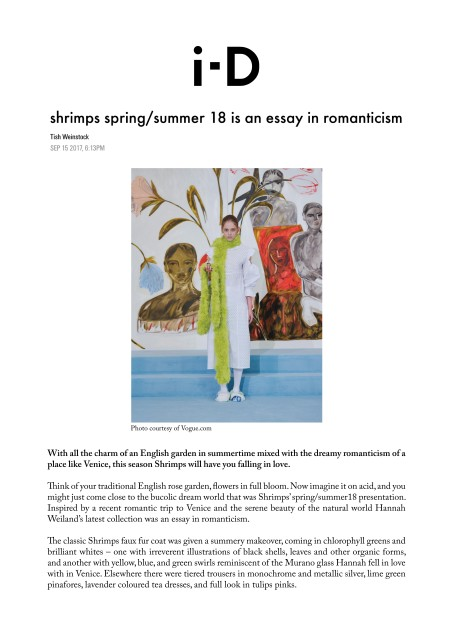 shrimps spring/summer 18 is an essay in romanticism
