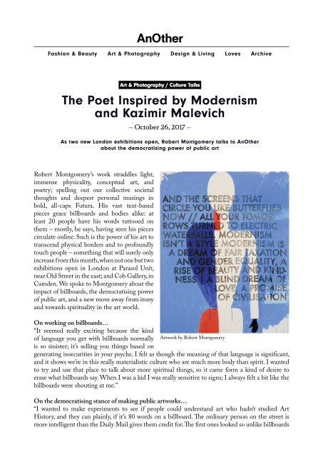The Poet Inspired by Modernism and Kazimir Malevich