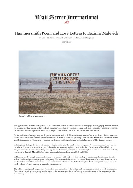 Hammersmith Poem and Love Letters to Kazimir Malevich