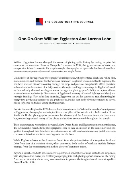 One-On-One: William Eggleston And Lorena Lohr