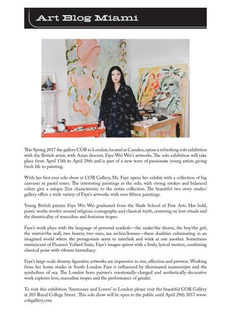 UK based artist Faye Wei Wei exhibit