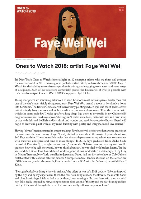 Ones to Watch 2018: artist Faye Wei Wei