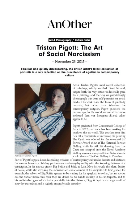 Tristan Pigott: The Art of Social Narcissism