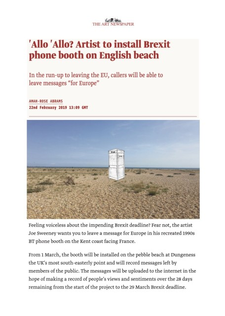 'Allo 'Allo? Artist to install Brexit phone booth on English beach In the run-up to leaving the EU, callers will...