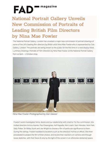 National Portrait Gallery Unveils New Commission of Portraits of Leading British Film Directors by Nina Mae Fowler