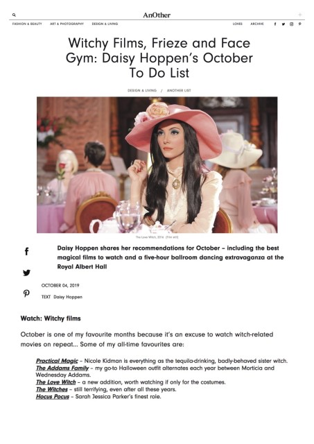Witchy Films, Frieze and Face Gym: Daisy Hoppen's October To Do List