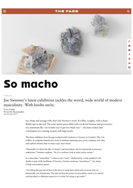 SO MACHO Joe Sweeney's latest exhibition tackles the weird, wide world of modern masculinity. With knobs on/in.