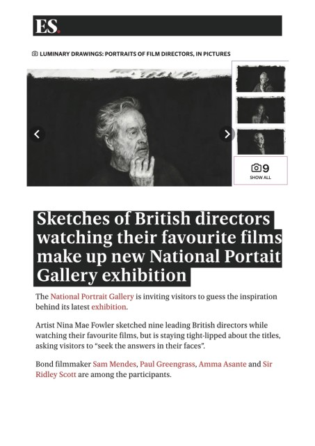 Sketches of British directors watching their favourite films make up new National Portait Gallery exhibition