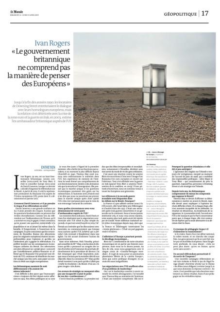 Ivan Rogers « Le gouvernement britannique ne comprend pas la manière de penser des Européens »